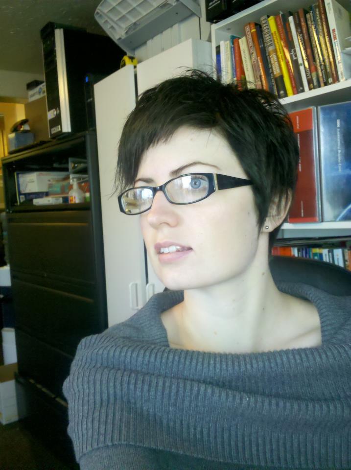 my new brown hair.... at work.