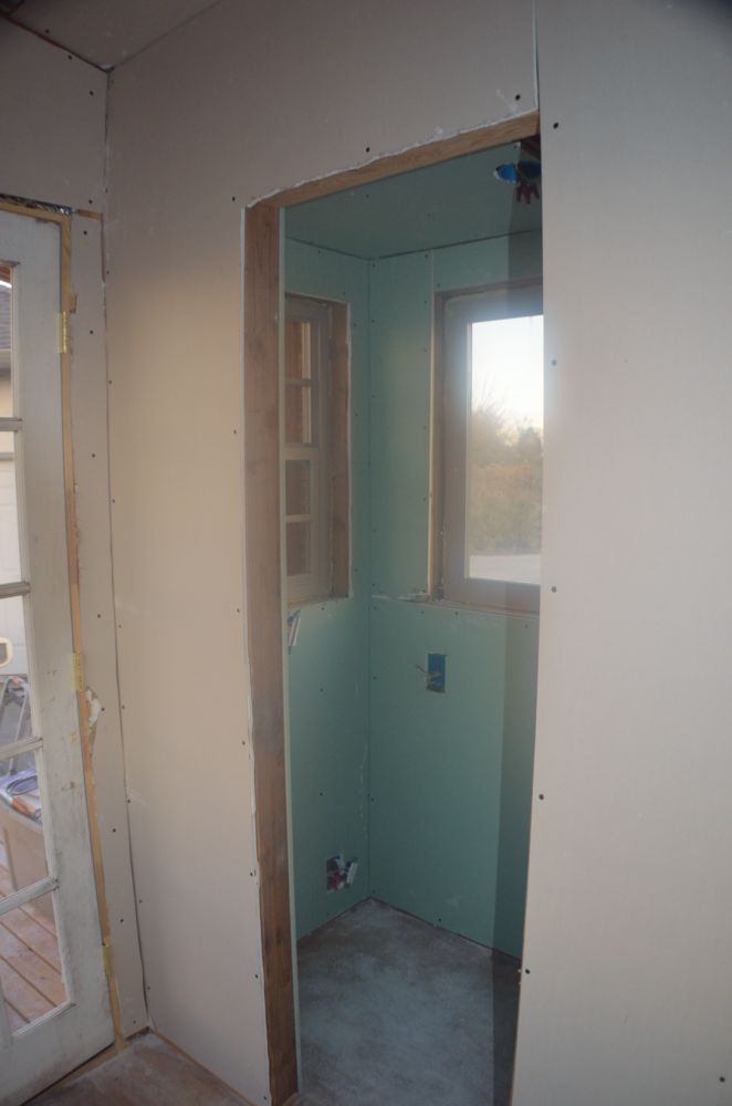 I am going to build some barn door hardware for this door... standby for more on that :)