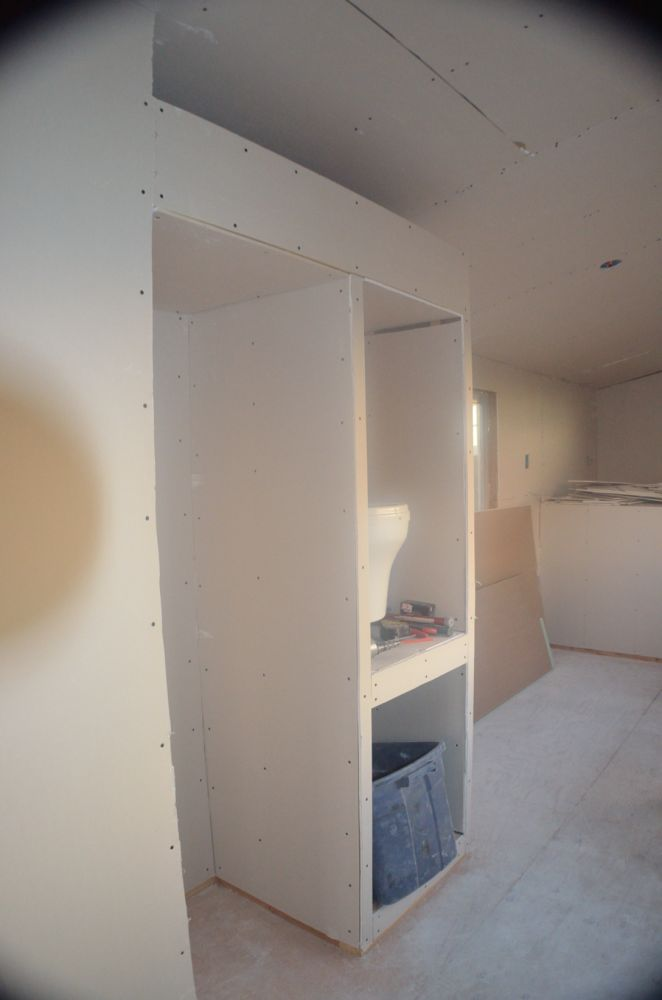 This is my fridge area and pantry area, this is also my favorite part, I love the angles of the ceiling and how it flattens out and I can capitalize on that for storage above :)