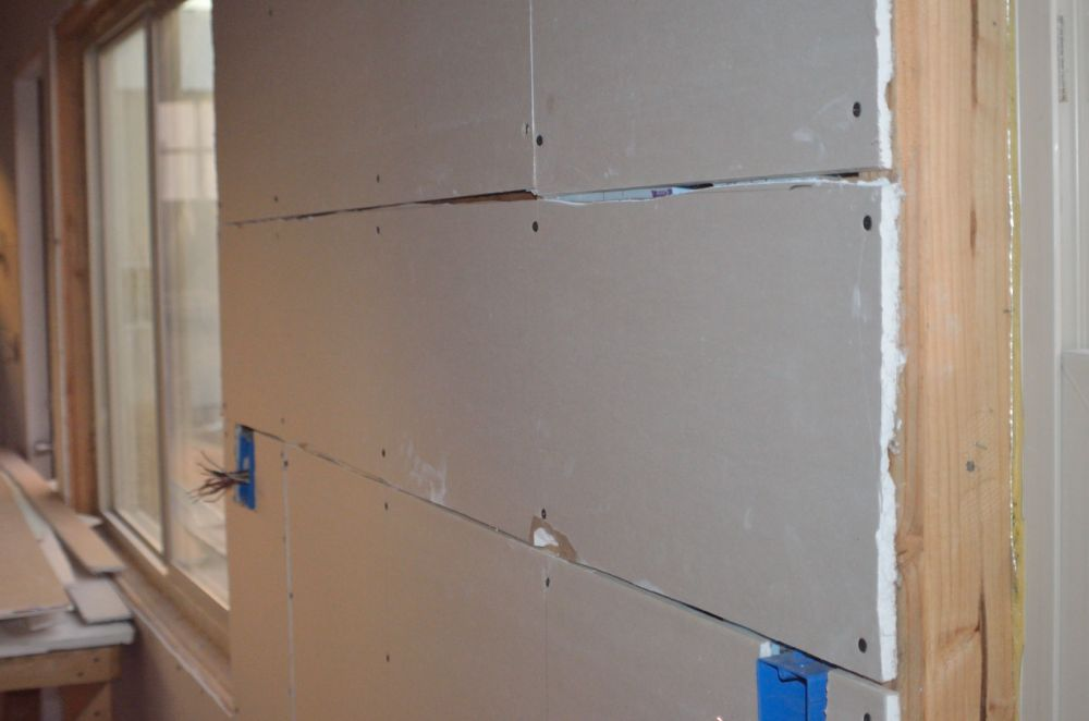 Oh, more of why I suck at drywalling :).  I did put most of the seams at arms reach height so it will make mudding and taping easier.
