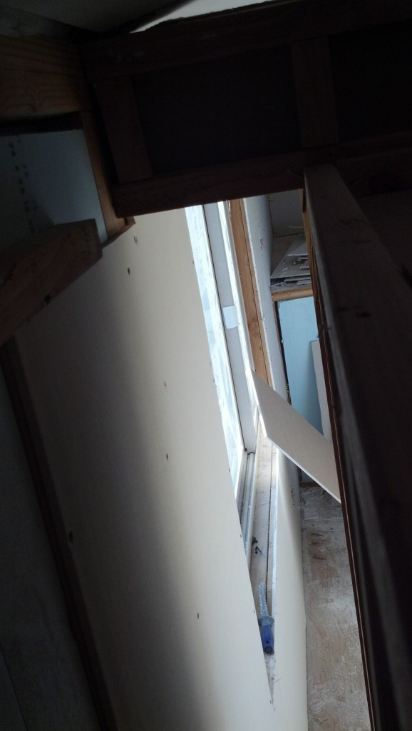 This is the space behind the fridge and pantry as seen from above.  This will not be accessible from this angle, it will be accessible from the living area.  It is about 4 foot deep, 6 and a half feet high and about a foot wide. Should be good for odd shaed things... like skis... or maybe a small trampoline?? Really, this was going to be for a water filtration system.... then I didn't need it so I didn't want to just waste it so it's storage... maybe winter coats??? Who knows..