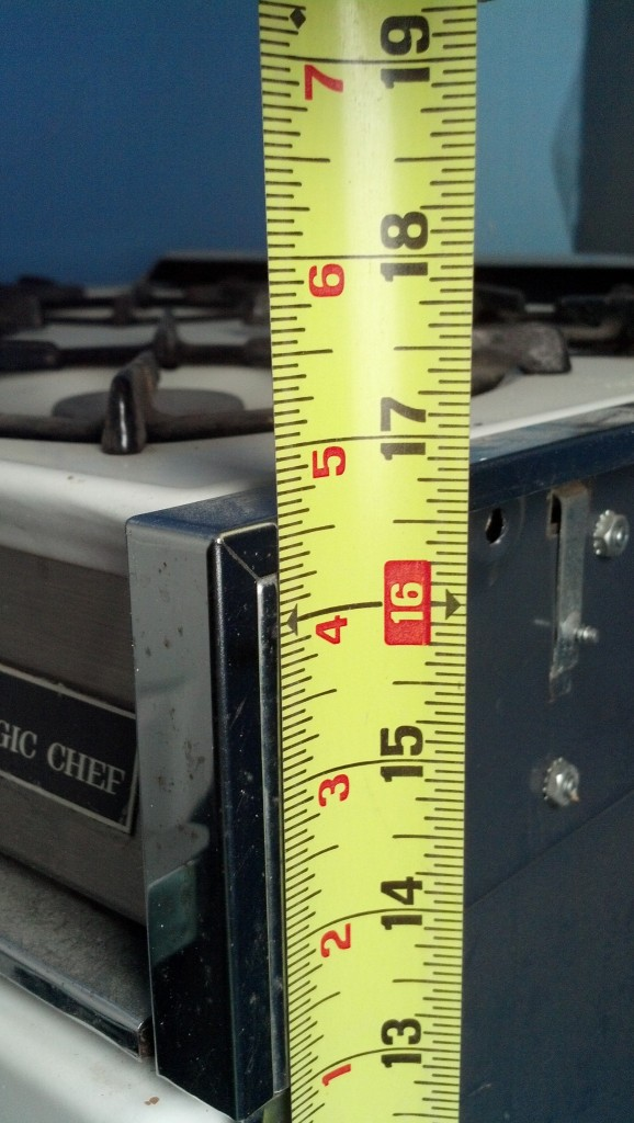 and my stove, height.