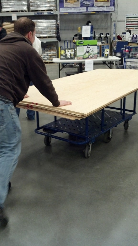 """Time to get the plywood.  I ended up getting 11/32"""" birch wood plywood"""