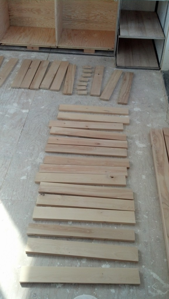 Time to stain the counter, this is the reclaimed hardwood floor that Stacey found