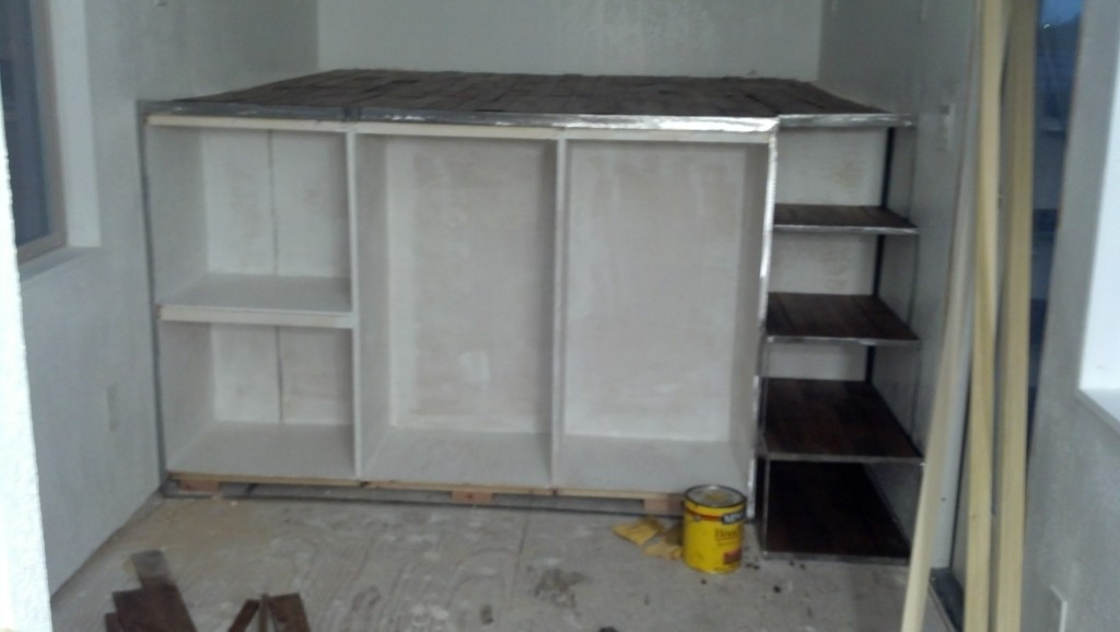 and the first coat of paint on the dresser cabinets.