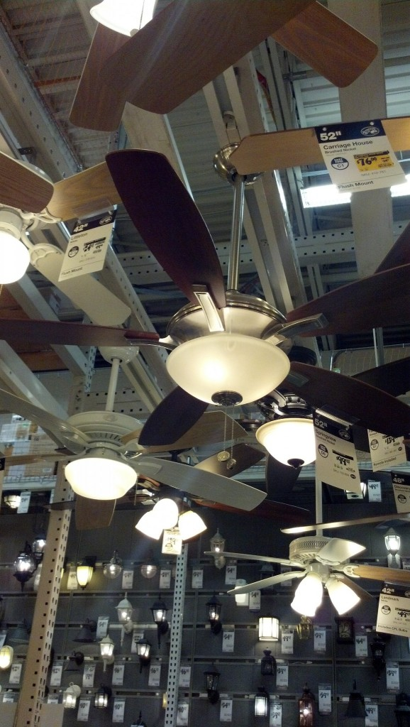 I looked at a couple ceiling fans... I can't find something quite right, I like this one but it's really big... if it was a 3 foot fan I think I'd be all over it