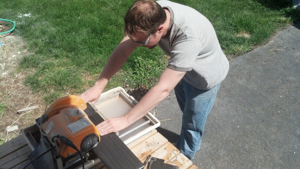 James being a bad-ass with a tile cutter