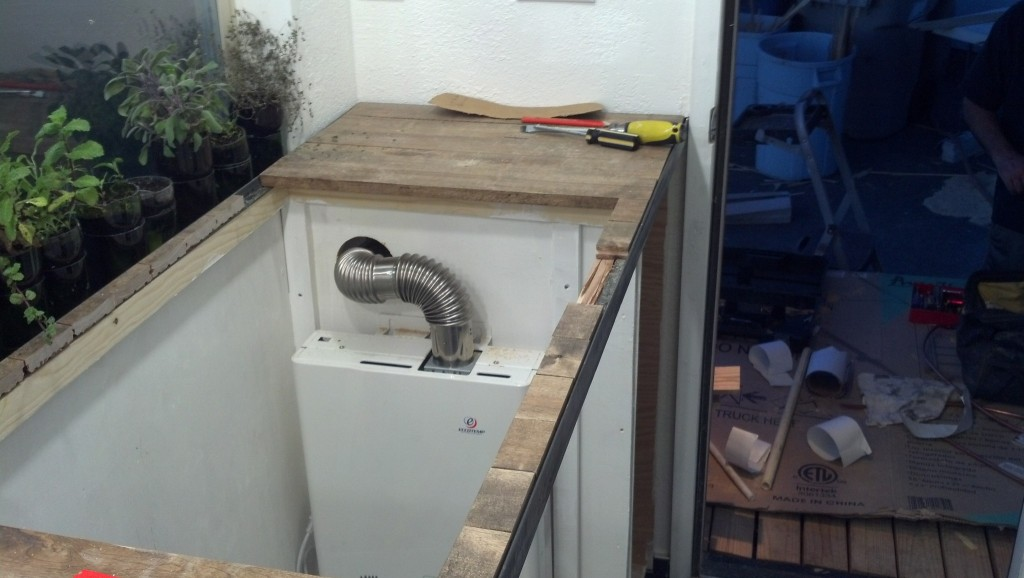 And the vent installed, we basically had to add one more angle and about 10 inches of pipe, should be A-O-K.