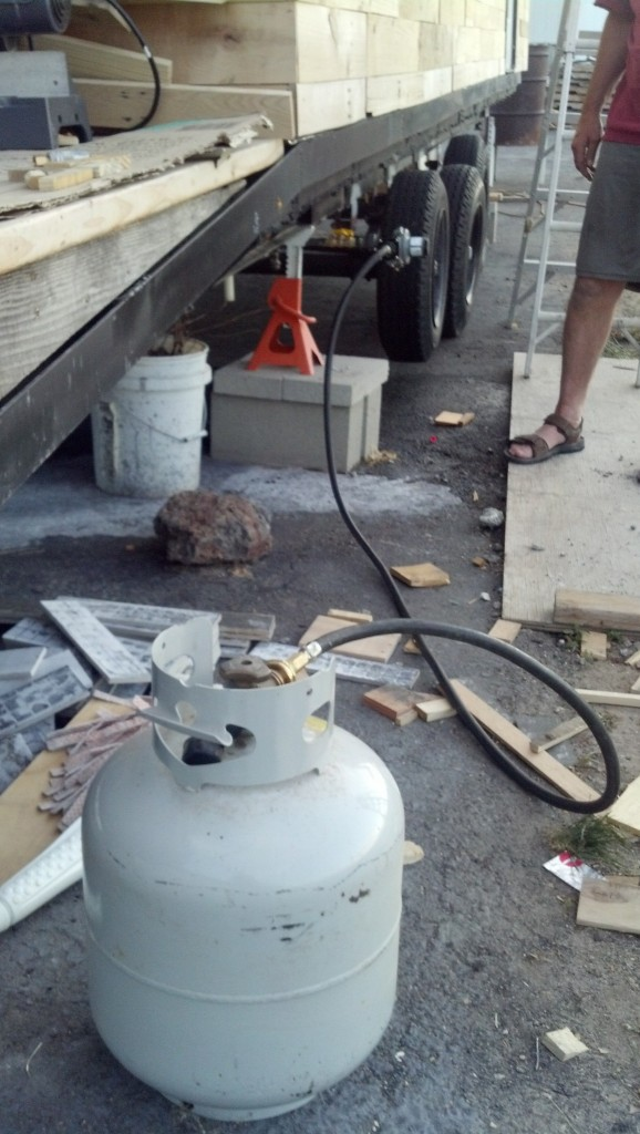 Hooked up to a long hose for my propane tank