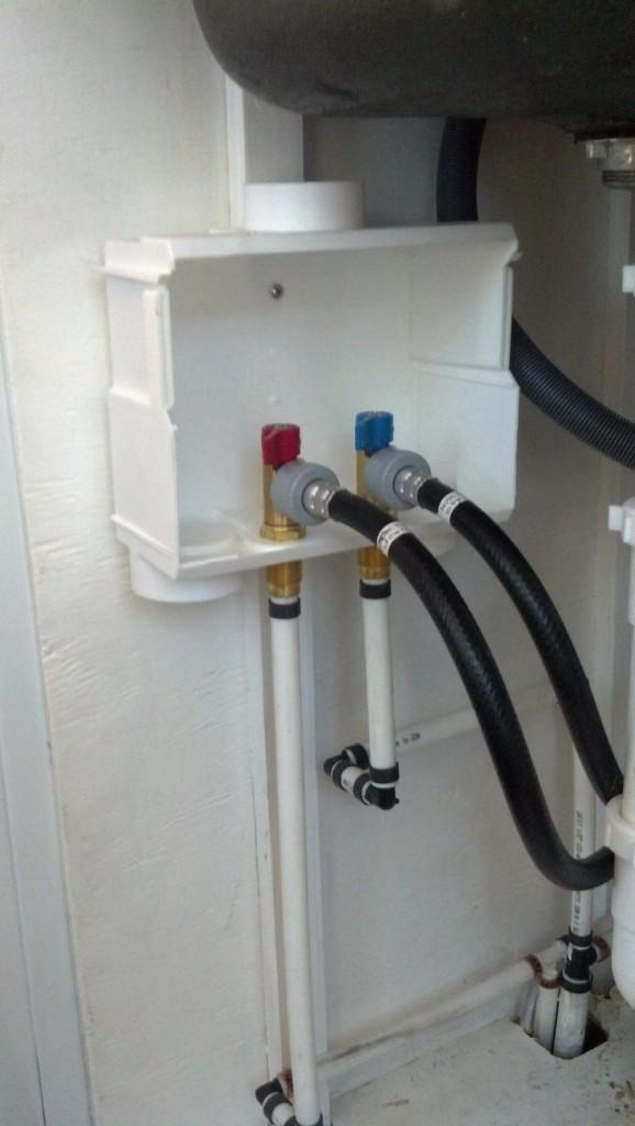Shut off valves for the washer/dryer