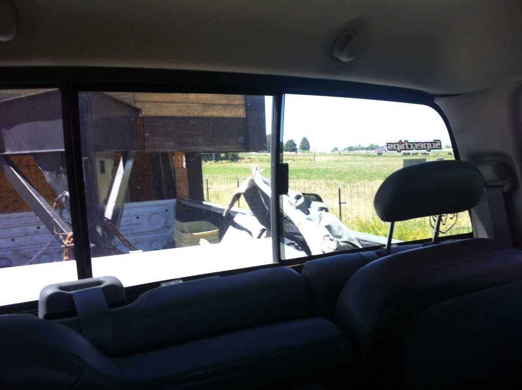 View from inside the moving truck