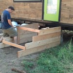 Here James is tieing the two supports together with some of the planks