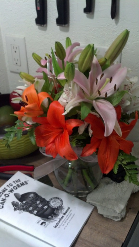 And onto the birthday, I got some purty flowers Friday delivered to my office