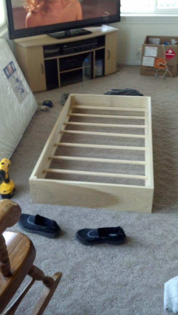 So I put some rails in and slats on the bottom that give it a little more bounce too and boom