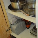 And the main offender, this was my everything cupboard, under the kitchen counter, it collected EVErYTHING.  Now it's the pot and pan cupboard like it was intended!