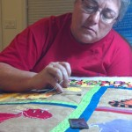Now shes well underway with the actual quilting!
