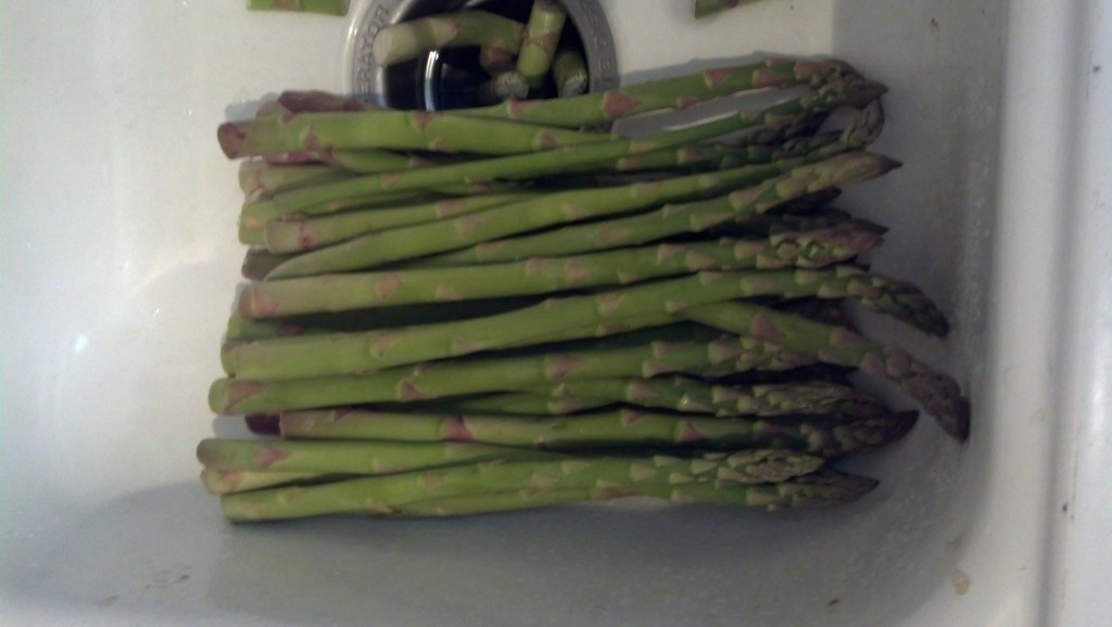 This time with some fresh asparugus (cut or break the fat ends off, they get all dried up and not good tasting...)