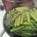 While those sauteed a bit I cut and started cooking the asparagus by steaming it about 3-5 minutes (until it is bright green).