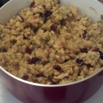As they cooked I aslo made some stuffing, another quick and easy way to get some carbs, I stuck with Stovetop to save time again, one of those other handy shortcuts, and it was on a great sale so... I made four boxes of stovetop and added cranberries to them, because they are delicious and its anothe rlayer of nutriants I figure I can add...