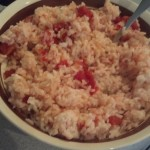 I just added a can of tomatoes and peppers to a big bowl of rice, I set this aside for later...