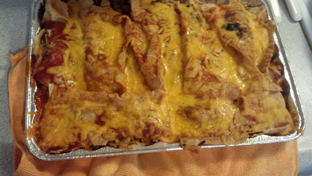 Then the enchiladas were done (well I took a little break here while they baked, my feet were starting to hurt :).