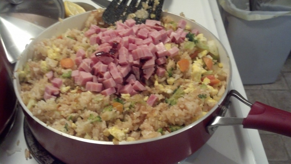 Then I mix in the veggies and add some ham.  I just used some high quality deli ham (less binders and processing but yet another shortcut for ease of bulk cooking)