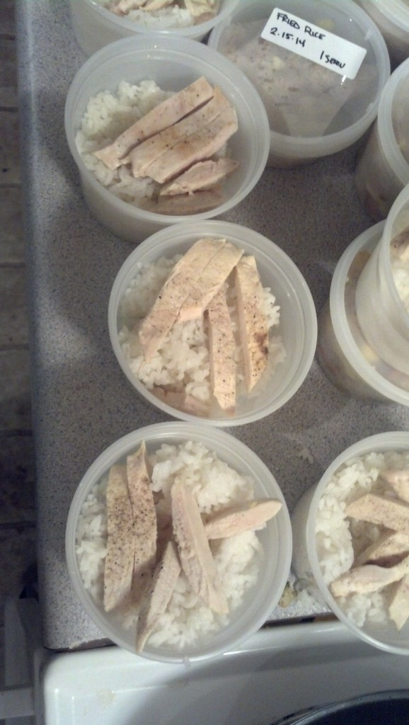 I then just put some plain rice in containers, some with plain grilled chicken,, some without.  I can take these and add some veggies and teriyaki sauce for a rice bowls or add some cream of chicken soup for a quick and tasty dish...