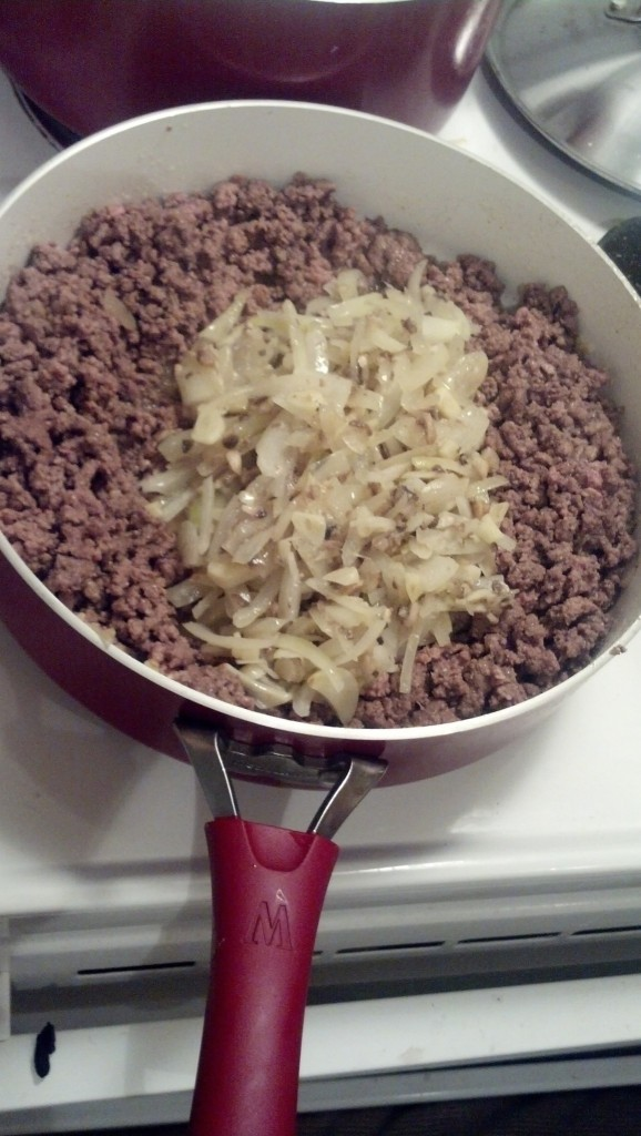 Next up is some easy spagetti, brown some meat and add some of the same basic sauteed onions and garlic.