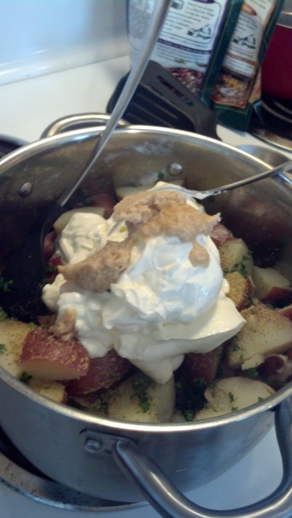 Add some fresh parsley, a package of sour cream some salt/pepper/granulated garlic and some horseradish sauce