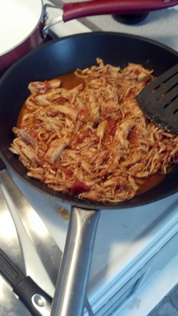For that I added som leftover crock pot chicken that james had for burritos