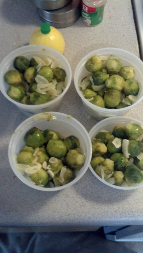 I let those cool and rermembered I had forgotten to do the brussel sprouts the day prior, I did them exactly the same way as I did the asparagus the previous day