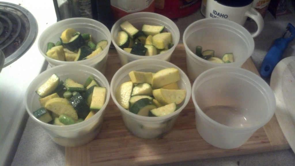 Then packaging the sauteed squash