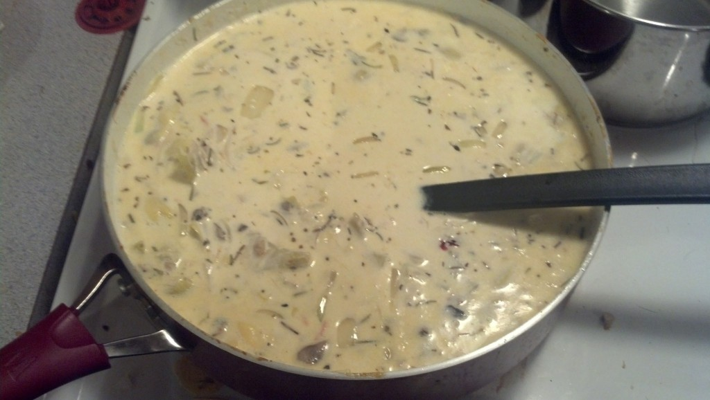 Stir that all together and simmer it, it will thicken on it's own