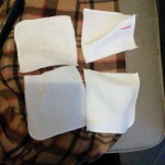 I also made reusable baby wipes that can be washed with the diapers  I found a good deal on plain whit wash cloths and bought two packs which I cut into quarters