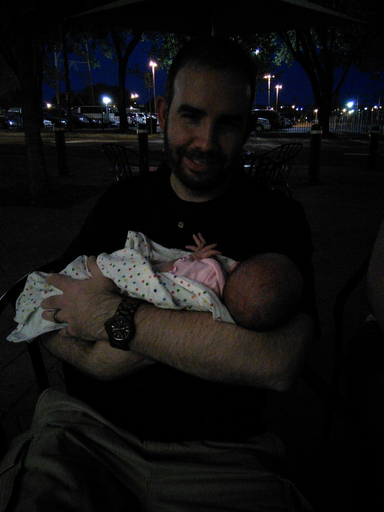 bad picture but MiniM met her 'Uncle' (my cousin) Nick and aunt Eleese!