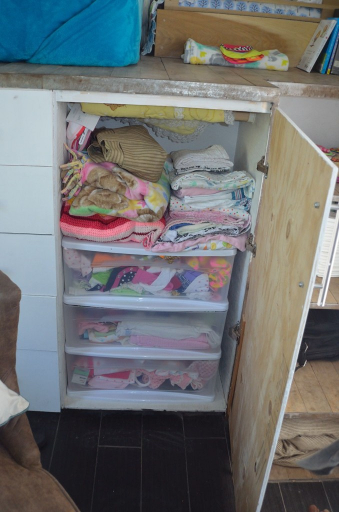 This is the next closet over, it's MiniM's closet, all her clothes/blankets/swaddles are in here