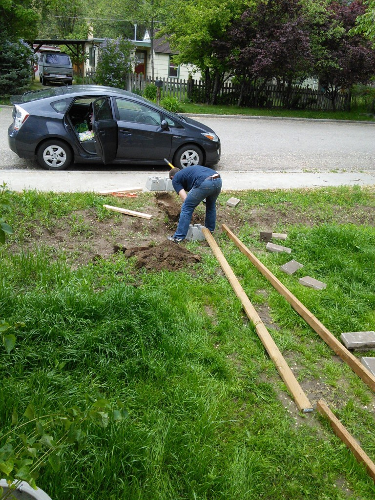 James did a lot of the hard laor digging the holes for the concrete blocks to hold up the bridge over the 'stream'