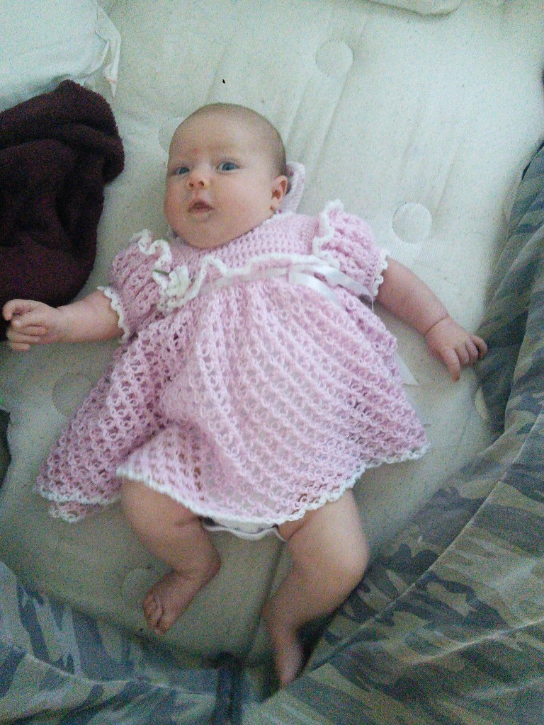 This is the little pink dress GG (great grandma) made her, she made me on just like it 30 years earlier!