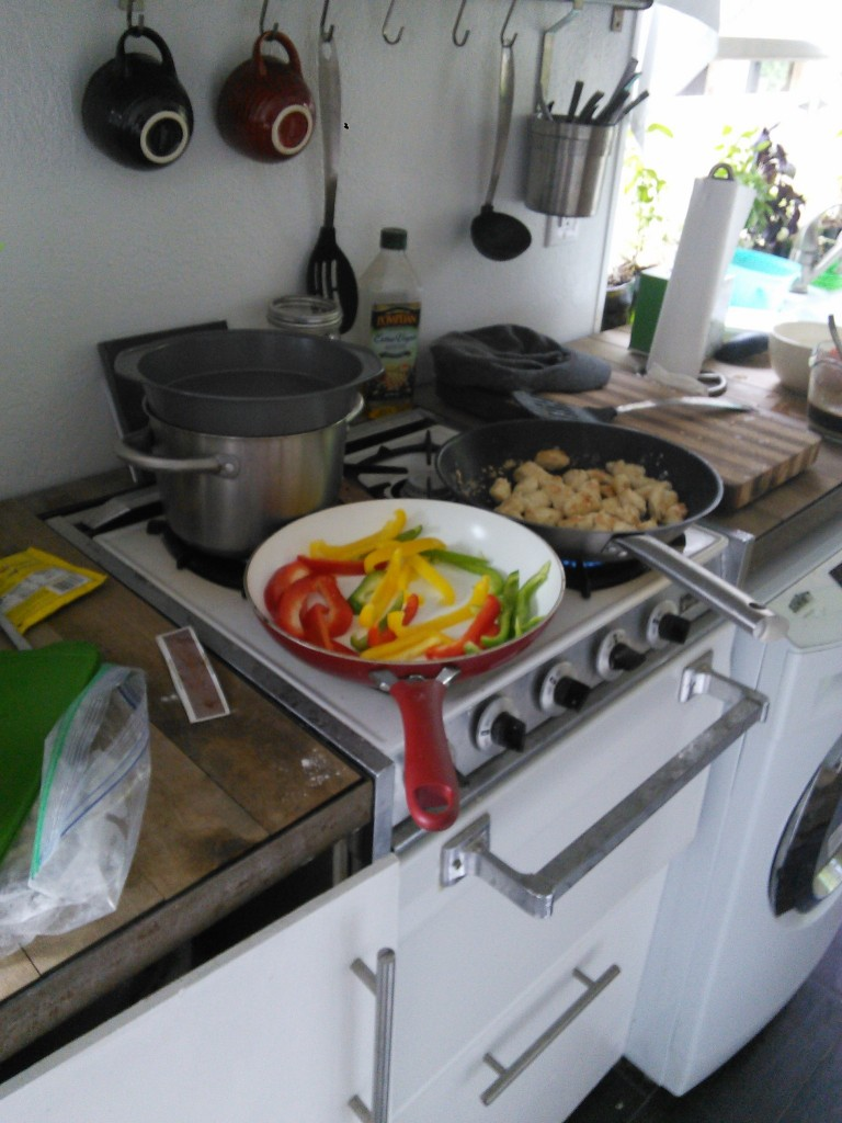 """One of the criticisms I  get quite a bit (surprisingly) is that my stove is 'dumb, who ever even uses four burners at once, she should have a two burner and save space"""", well I use 3+ burners regularely ( I lost my lid so I am using a cake pan... I have even been known to use all four burners AND the oven... works for me!"""