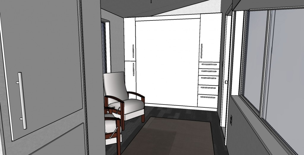 And finally, this would be the interior shot, you lose one window on the short end but gain a cool little storage shelf above... Your furnishing would also now be required to be semi movable (rather than built-ins) so that you can lower the bed.  This does also give you a little more wall space, I can see a great spot for family photos being fastened to the underside of the bed so when it is up they show!