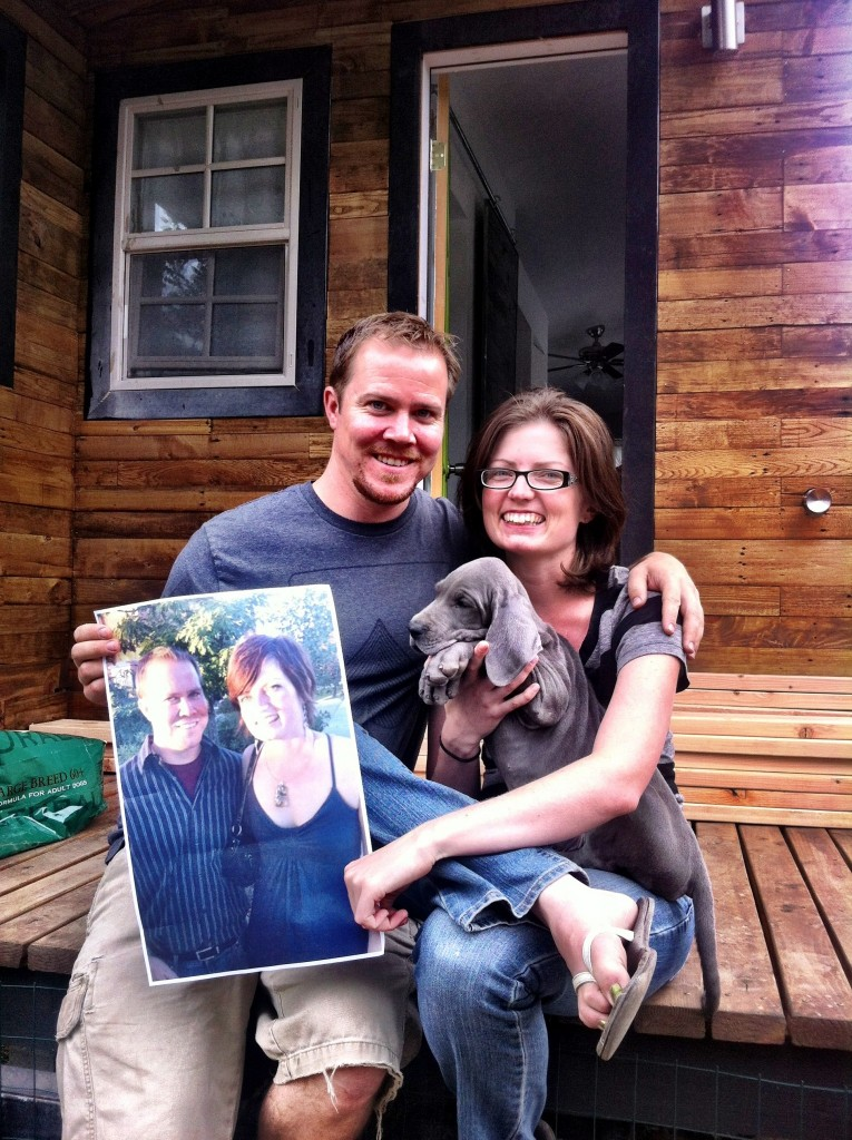 This was last years anniversary holding a picture from our first date.  Look at that dog!  This is the very day Denver joined our family, he was already 20 pounds but only 8 weeks old.  I totally ripped this idea off from another couple whos images I can't find right now, James has been a good sport in helping take the photos.  Hopefully in a few years there is quite the story told in images.