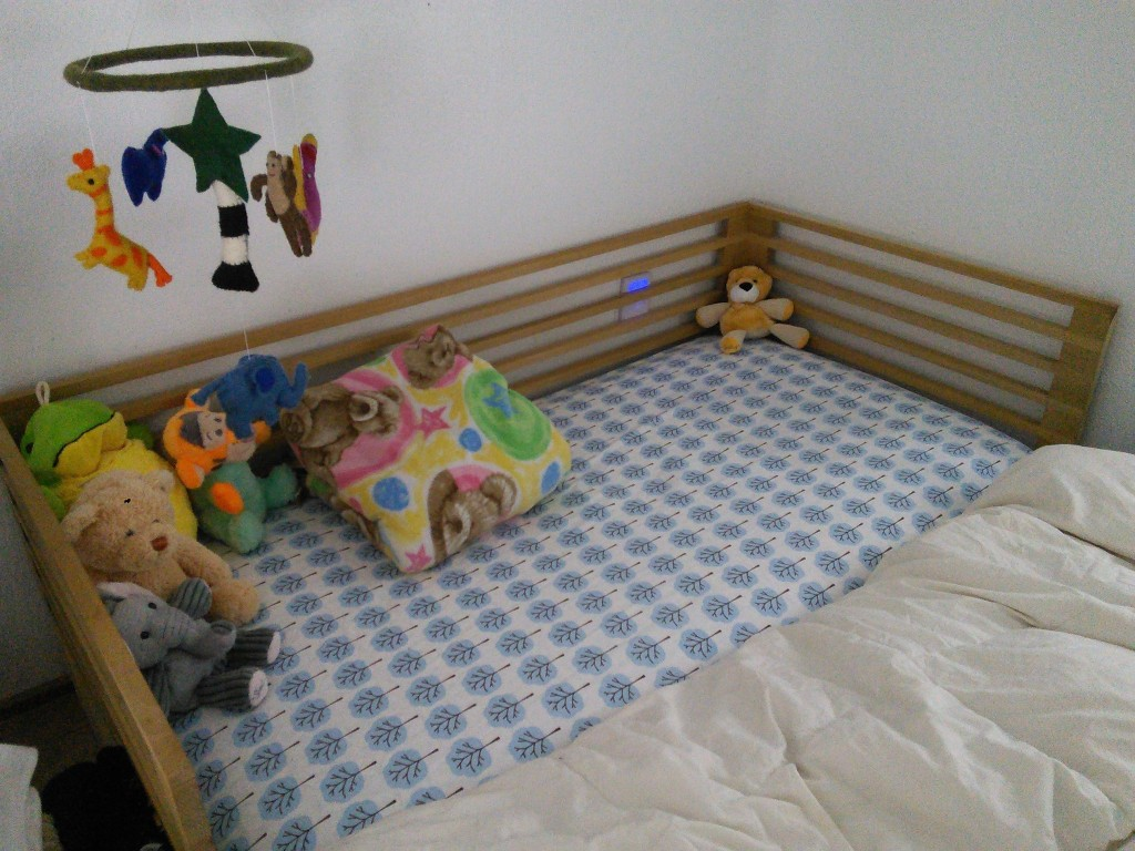 And of course she needs a place to sleep.  I built a co-sleeper for her that is a full sized crib, when the time comes I can convert it to a crib with higher walls, I will also be adding a rail to the whole loft area with a sliding door, I need to get on that before she can crawl!