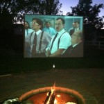 Movie/bonfire nights at my bros, happy to be doing this again that it's getting darker earlier!  He built this awesome screen and has a projector tv, makes for family fun!