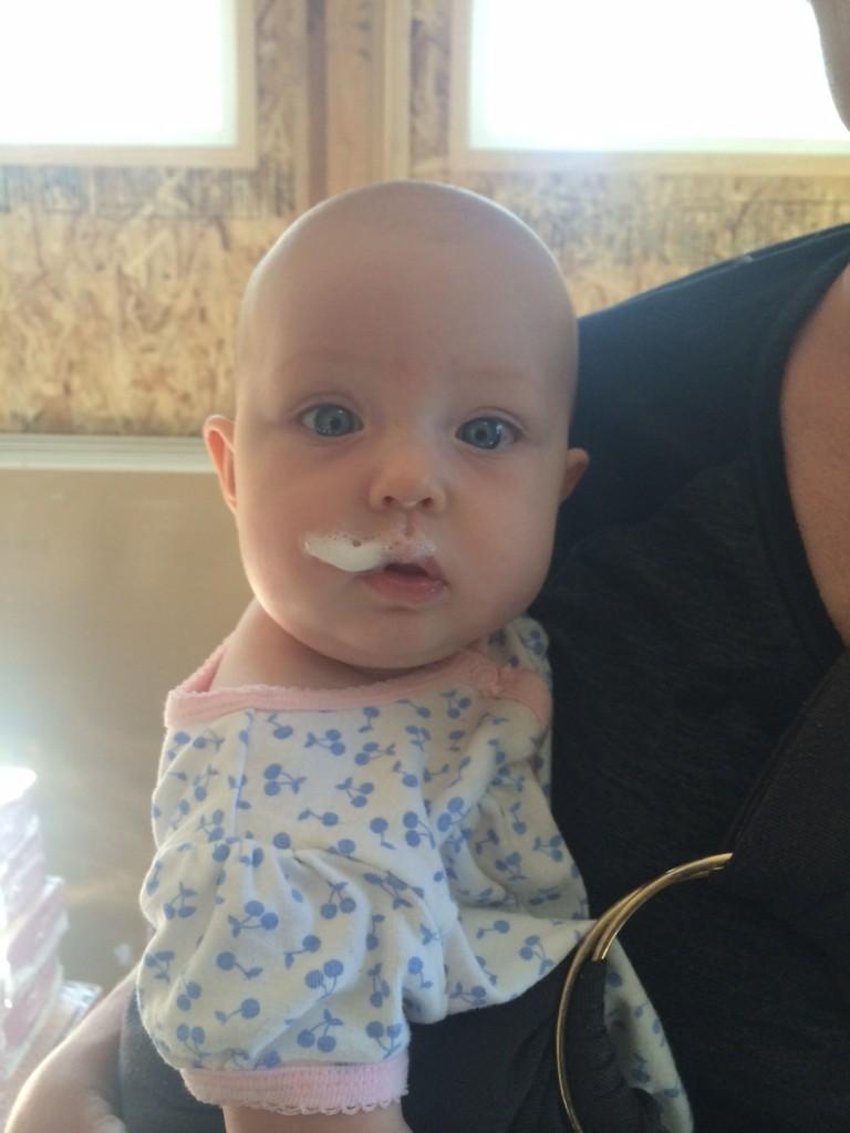 Someone stole her moms coffee foam...