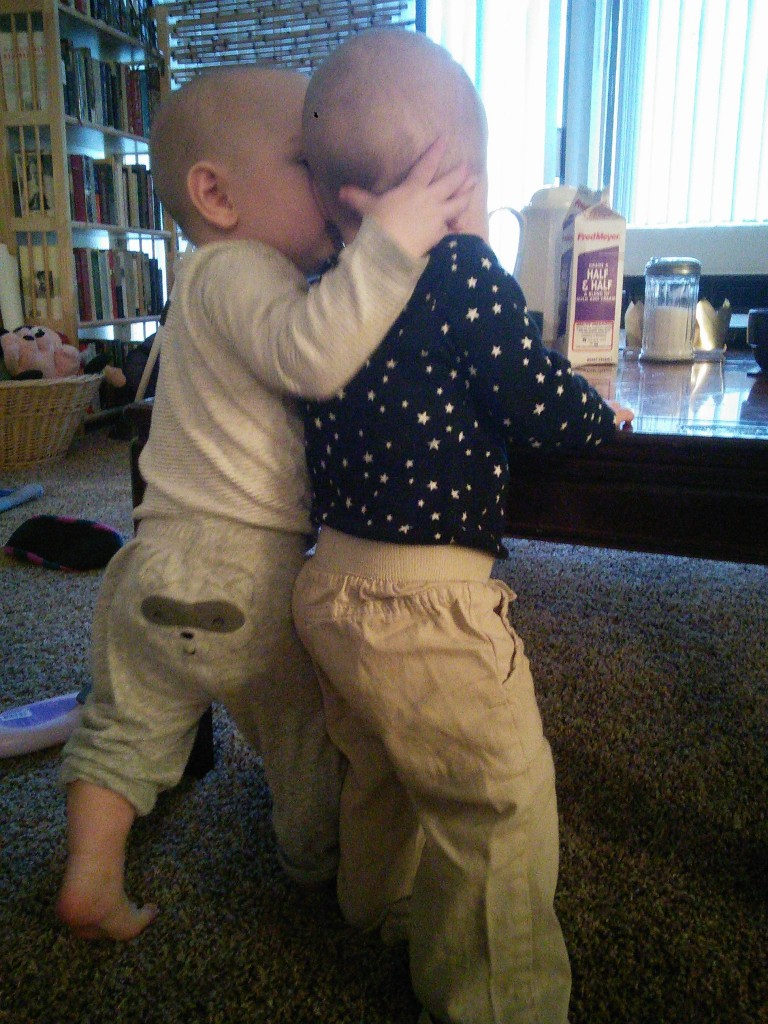 Visiting with her BF Harland, they are besties!  He learned to kiss :)