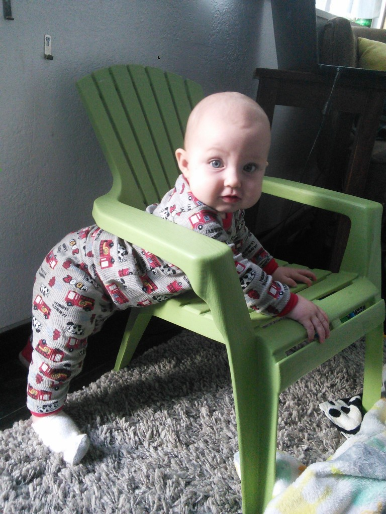 She doesn't quite 'get' the chair yet, or maybe she gets it better than I do, she certainly has more fun in a chair than I do!
