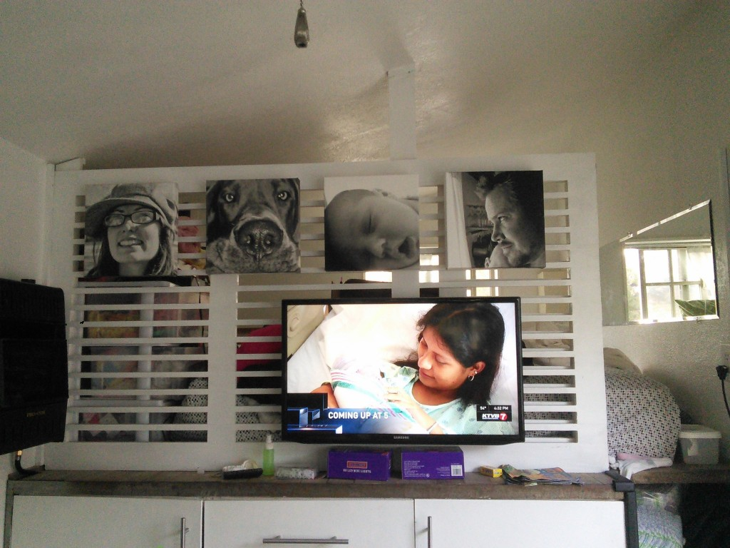 Once again we rearranged 'the wall' so that I can fit a propane heater to the left without melting my TV