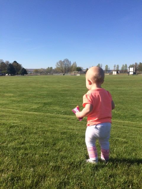A pit stop at the park, while she was still wearing pants, we had to change a diaper and she woldnt get her pants back on, she just ran around the park with her skittles (which she tried to steal from the gas station!) and no pants!