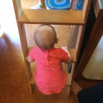 Testing out the ladder at the Caravan Tiny House Hotel!