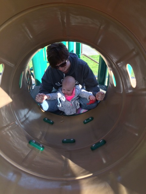 We even found a slide, her favorite!